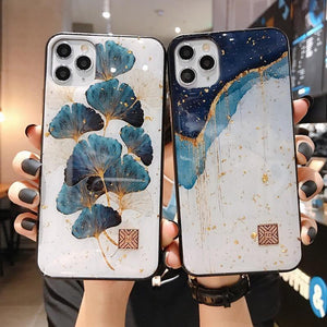 Chic Marble Gold Foil Phone Cases for iPhone 12 11 Pro Max XR X 8 7 Plus Glitter Soft Silicone Cover for iPhone XS Max SE 2020