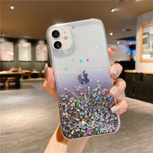 Load image into Gallery viewer, Clear Glitter Phone Case For iPhone 12 Pro 11 Pro Max XS Max XR X 7 8 Plus 12 Mini SE 2020 Cute Gradient Rainbow Sequins Coque