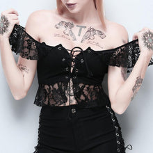 Load image into Gallery viewer, Sexy Lace Patchwork Lace Up Off Shoulder Hollow Out Women Shirt Top