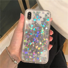Load image into Gallery viewer, Glitter Love Heart Sequins Quicksand Phone Case For iPhone 12 11Pro Max XR XS Max X 8 7 Plus Dynamic Liquid Case