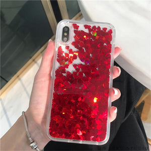 Glitter Love Heart Sequins Quicksand Phone Case For iPhone 12 11Pro Max XR XS Max X 8 7 Plus Dynamic Liquid Case
