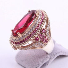 Load image into Gallery viewer, Large Oval Pink Red Stone Rings for Women Luxury Filled Rings Jewelry