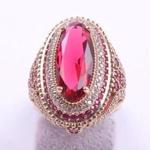 Large Oval Pink Red Stone Rings for Women Luxury Filled Rings Jewelry
