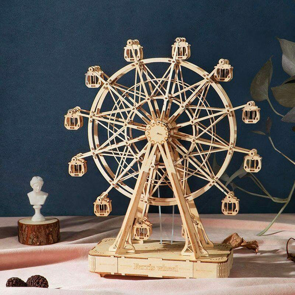 Wooden 3D assembled creative DIY puzzle - Music Box Ferris Wheel