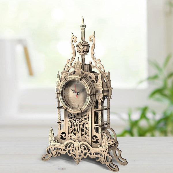Wooden 3D assembled creative DIY puzzle -Oak Color Belfry Table Clock