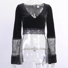 Load image into Gallery viewer, Nightclub Bar Singer Sexy V-Neck Black Lace Trumpet Sleeve Shirt Tops