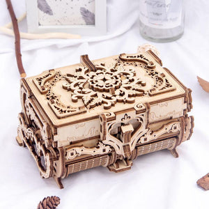 Wooden 3D assembled creative DIY puzzle - wooden mechanical transmission antique box