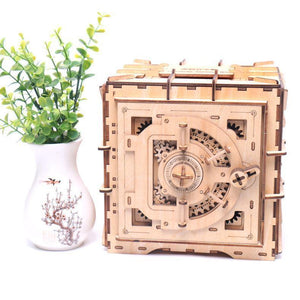 Wooden 3D assembled creative DIY puzzle - 3D password box