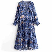 Load image into Gallery viewer, print frill dress women tiers V-neck long sleeve dress autumn  new boho dress