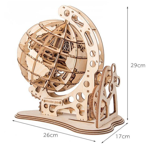 Wooden 3D assembled creative DIY puzzle - Wooden Globe