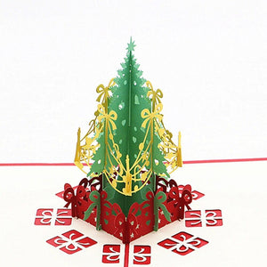 3pcs/lot Handmade 3D Design Stand Up Christmas Tree Greeting Card Holiday Happy New Year Holiday Gift Bright Color