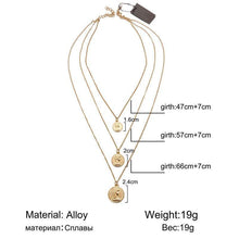 Load image into Gallery viewer, Vintage BOHO Pendant Necklace Women Gold Color Map Coin Long Choker Necklaces Jewelry