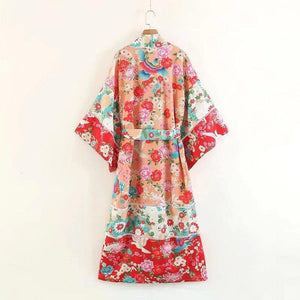 Boho Patchwork Maxi Floral Print Long Batwing Sleeve Belt Cover-up