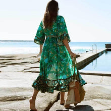 Load image into Gallery viewer, Boho Forest Print Fluted Sleeves Frill Summer Dress V-neck Tied Beach Dress for Women Chic Gypsy Boho Dress