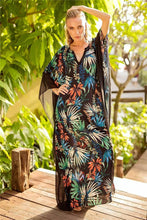 Load image into Gallery viewer, Tropical Floral Print Kaftans Batwing Sleeve V-neck Beach Caftans Dress