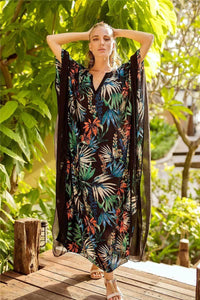 Tropical Floral Print Kaftans Batwing Sleeve V-neck Beach Caftans Dress