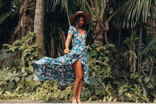 Load image into Gallery viewer, Maxi Irregular Summer Floral V-Neck butterfly Hem Holiday Bohemia long Dress