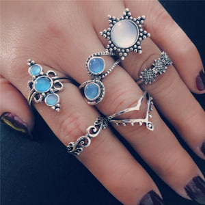 6 Pcs Set Sun Hollow Crown Opal Flower Ring  Suit Accessories