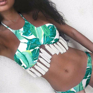 Fringe Tassel Floral Dots Leaves Pattern Bikini Set Swimsuit