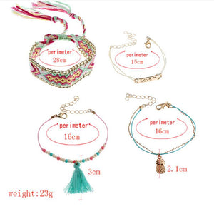 Fashion Tassel Bracelet Colorful Braided Bohemian Bracelets Set