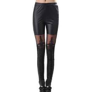 Fashion Punk PU Legging Leather Slim High Waist Lace Pants