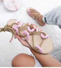 Load image into Gallery viewer, Women Fashion Summer Flat Shoes Colorful Hemp Rope Lace Up Gladiator Sandals