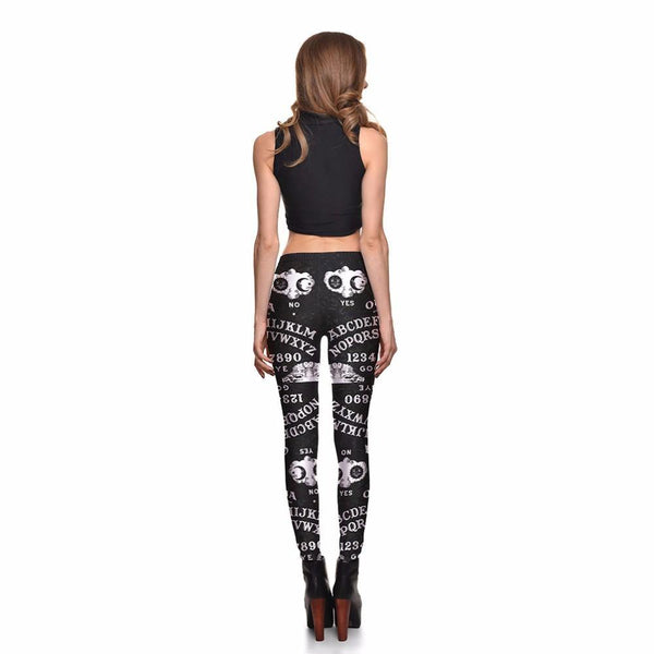 Sexy Girl Women letter Yes NO 3D Prints Elastic Fitness Polyester Walking Leggings Pants