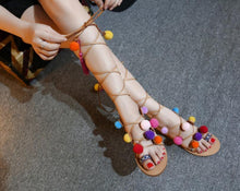 Load image into Gallery viewer, Bohemia Gladiator Tassel Ball Fuzz Strap Pom Summer Women Flat Sandals