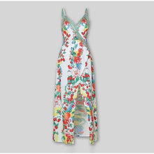 Load image into Gallery viewer, Boho Floral Print Split Women Maxi Dress Deep V-Neck High Waist Long Dress