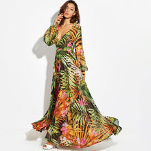 Load image into Gallery viewer, Maxi Boho OrangeTropical Floral Belt Plus Size Long Dress