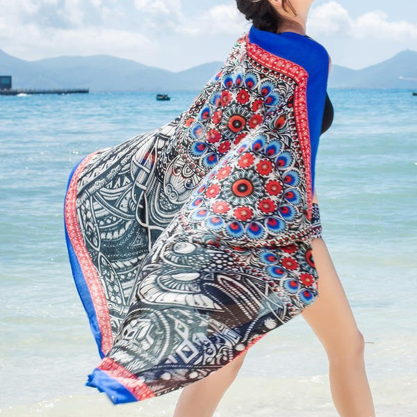 Blue Side Cashew National Style Vacation Printing Sunscreen Scarf Shawl Beach Towel