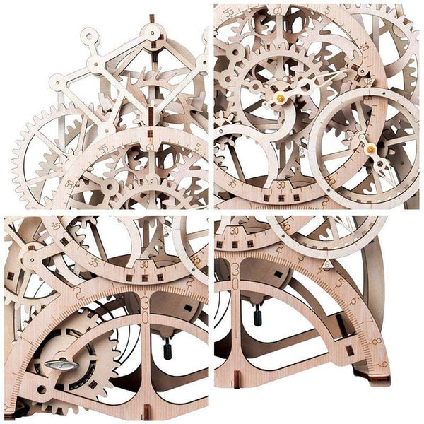 Wooden 3D assembled creative DIY puzzle - Mechanical Gear Drive Pendulum Clock