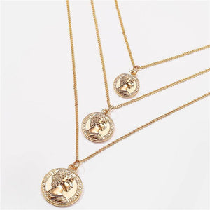 Vintage BOHO Pendant Necklace Women Gold Color Map Coin Long Choker Necklaces Jewelry