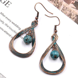 Vintage Water Drop Stone Dangle Earrings For Women