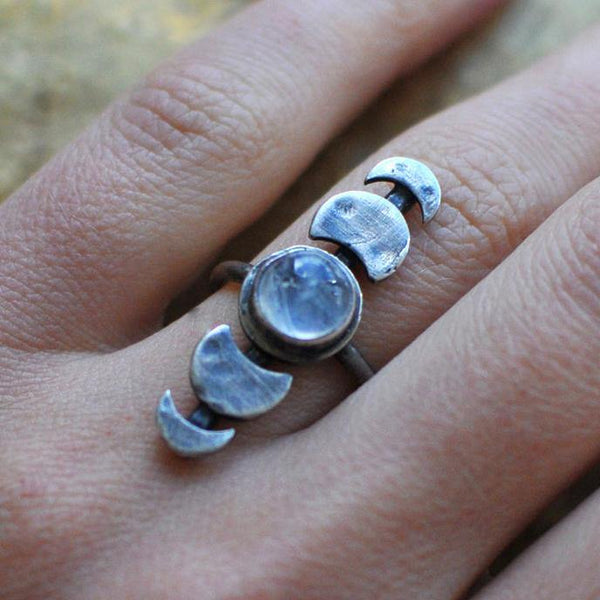 Fashion Unique Style Boho Simple Moonstone Ring Jewelry