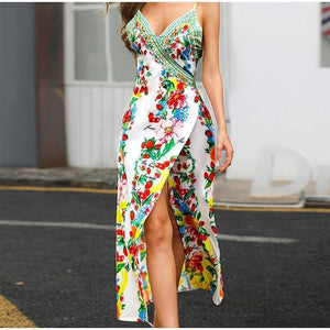 Boho Floral Print Split Women Maxi Dress Deep V-Neck High Waist Long Dress