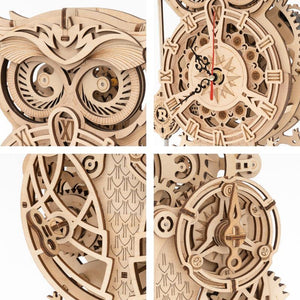 Wooden 3D assembled creative DIY puzzle - Owl Clock