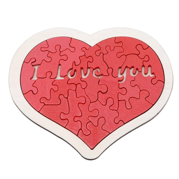 Heart-shaped I Love U Wooden Puzzle Box
