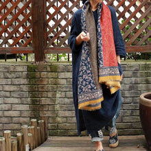 Load image into Gallery viewer, Vintage Pattern Comfortable Cotton Ethnic Style Big Scarf Shawl