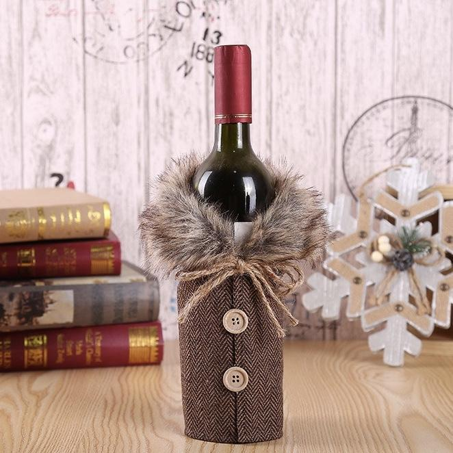 Christmas Red Wine Bottle Clothes Restaurant Decoration Props Bow Wine Bottle Set