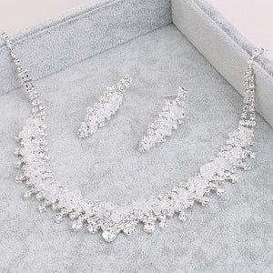 Headwear Crown Necklace Earring Three-Piece Wedding Necklace Earrings Jewelry Set