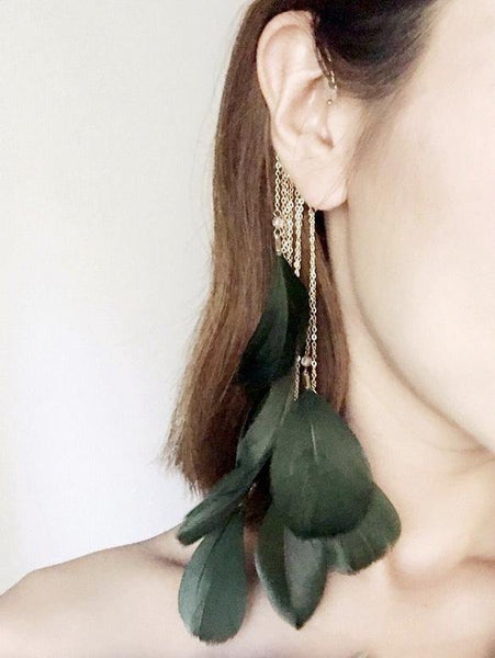 Vintage Retro Fashion Jewelry Long Paragraph Exaggerated Feather Tassel Ear Hanging Earrings