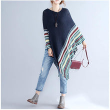 Load image into Gallery viewer, Women Patchwork Long Sleeve Tassels Shawl Sweaters