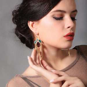 Vintage Retro Water Drops Tassel Earrings Simple Wild Earrings for Evening Party