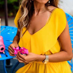 Yellow Suspender Evening Dress Sexy Bodycon Maxi Dress