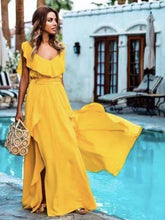 Load image into Gallery viewer, Yellow Suspender Evening Dress Sexy Bodycon Maxi Dress