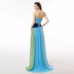 Colorful Strapless Floor Maxi Dress