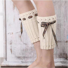 Load image into Gallery viewer, Boot cuff thick short-sleeved thick thick bamboo knit wool yarn socks - 7