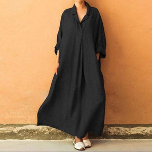 Plus Size Three Colors Ramie Cotton Lapel Linen Loose Long Dress