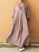 Load image into Gallery viewer, Plus Size Three Colors Ramie Cotton Lapel Linen Loose Long Dress